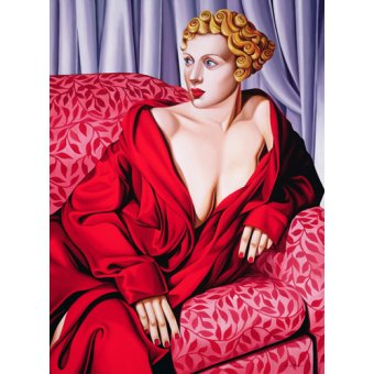 cuadros de retrato - Cuadro -Red Kimono (oil on canvas)- - Abel, Catherine