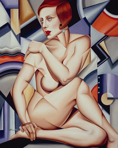 cuadros-de-retrato - Cuadro -Cubist Nude (oil on canvas)- - Abel, Catherine