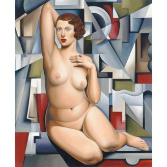 cuadros de retrato - Cuadro -Seated Cubist Nude (oil on canvas)- - Abel, Catherine