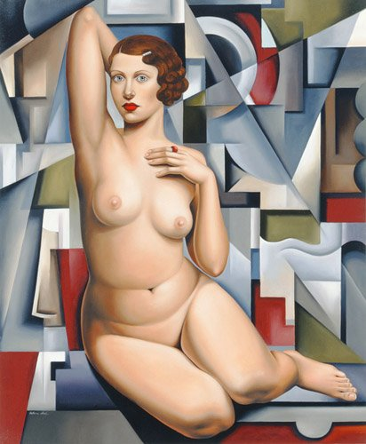 cuadros-de-retrato - Cuadro -Seated Cubist Nude (oil on canvas)- - Abel, Catherine