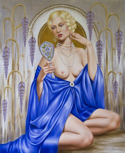 cuadros-de-retrato - Cuadro -Rhapsody in Blue (oil on canvas)- - Abel, Catherine