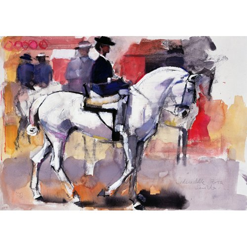 Cuadro -Side-saddle at the Feria de Sevilla, 1998 (mixed media on paper)-
