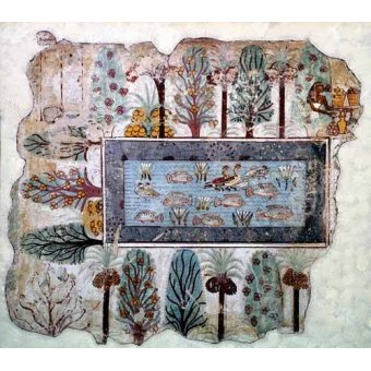- Cuadro -Fresco en Thebes,- Estanque en un jardin -- - _Anónimo Egipcio