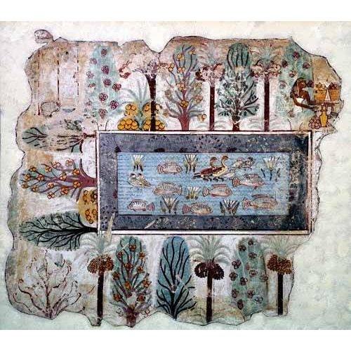 Cuadro -Fresco en Thebes,- Estanque en un jardin --