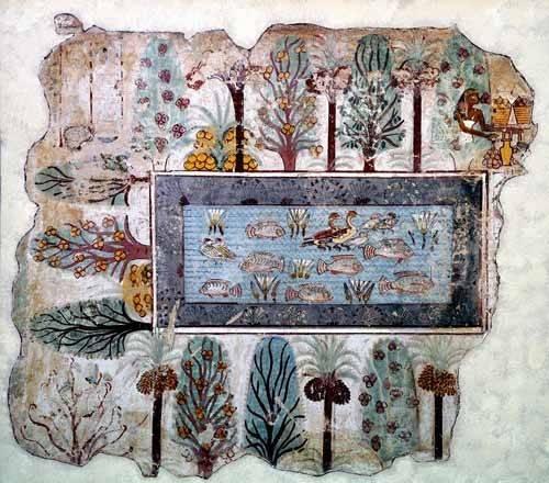 cuadros-etnicos-y-oriente - Cuadro -Fresco en Thebes,- Estanque en un jardin -- - _Anónimo Egipcio