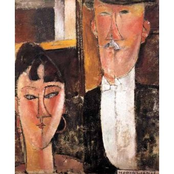 cuadros de retrato - Cuadro -Pareja de novios- - Modigliani, Amedeo