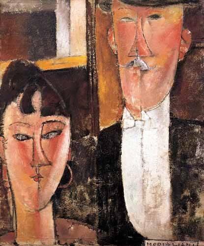 cuadros-de-retrato - Cuadro -Pareja de novios- - Modigliani, Amedeo