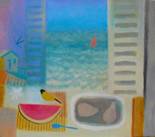 cuadros-de-bodegones - Cuadro -Watermelon, 2016 (oil on canvas)- - Baird, Charlie