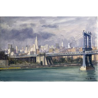 cuadros de paisajes - Cuadro -Manhattan Bridge, New York, 1996 (oil on canvas)- - Barrow, Julian