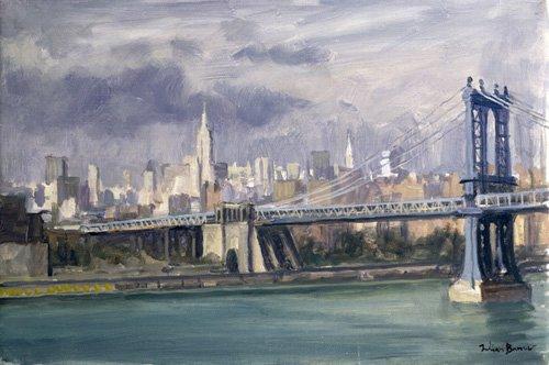 cuadros-modernos - Cuadro -Manhattan Bridge, New York, 1996 (oil on canvas)- - Barrow, Julian