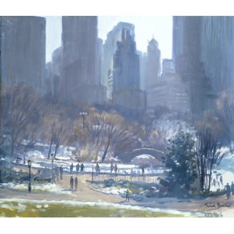 cuadros de paisajes - Cuadro -Winter in Central Park, New York, 1997 (oil on canvas)- - Barrow, Julian