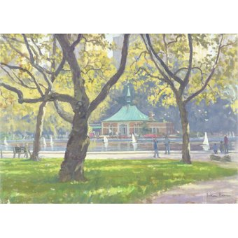 cuadros de paisajes - Cuadro -Boat Pond, Central Park (oil on canvas)- - Barrow, Julian