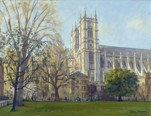 cuadros-modernos - Cuadro -Westminster Abbey from Dean's Yard (oil on canvas)- - Barrow, Julian