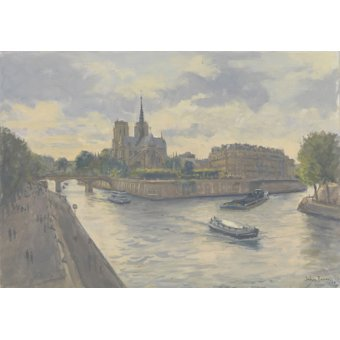 cuadros modernos - Cuadro -Ile de La Cite, 2010 (oil on canvas)- - Barrow, Julian