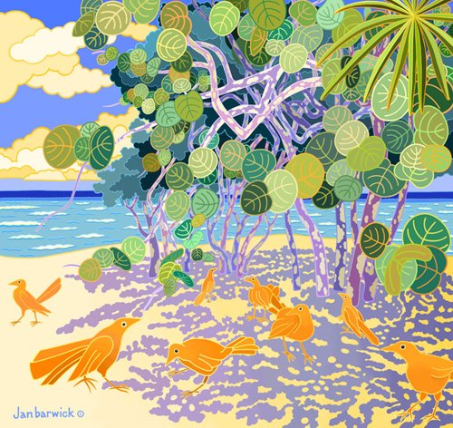 cuadros-de-marinas - Cuadro -Ching Chings, 1997, acrylic gouache on canvass - - Barwick, Jan