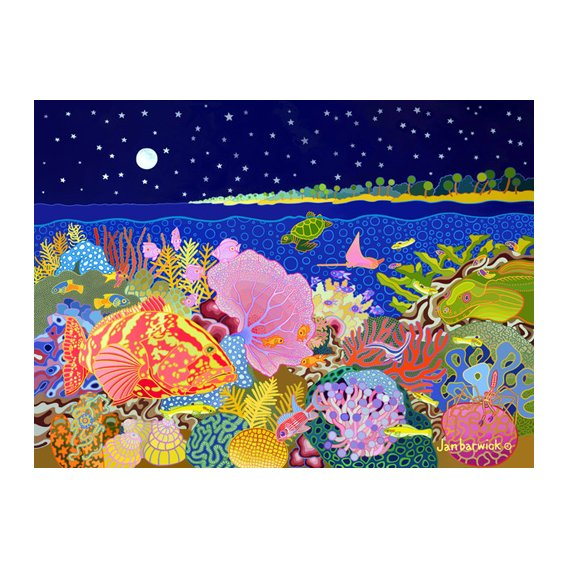 Cuadro-Starry Night, 1994, acrylic gouche on canvas-