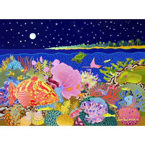 Cuadro-Starry Night, 1994, acrylic gouche on canvas-