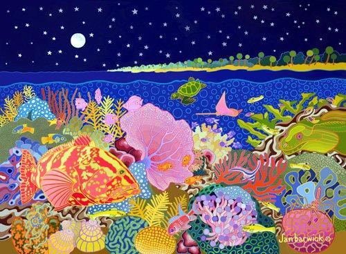 cuadros-de-marinas - Cuadro-Starry Night, 1994, acrylic gouche on canvas- - Barwick, Jan