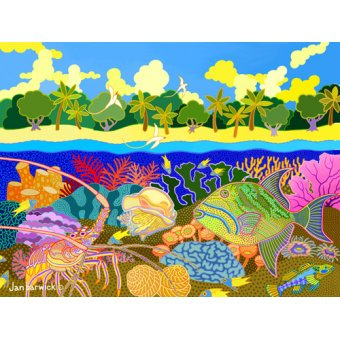 - Cuadro-Aquatic Fusion, 1998, acrylic gouache on canvas- - Barwick, Jan