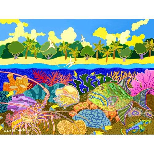 Cuadro-Aquatic Fusion, 1998, acrylic gouache on canvas-