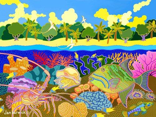 cuadros-de-marinas - Cuadro-Aquatic Fusion, 1998, acrylic gouache on canvas- - Barwick, Jan