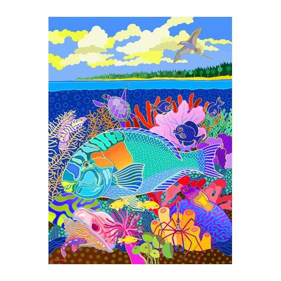 Cuadro -Coral Calm, 2000, acrylic gouache on canvas-