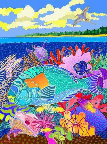 cuadros-de-marinas - Cuadro -Coral Calm, 2000, acrylic gouache on canvas- - Barwick, Jan