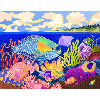 - Cuadro -Cayman Calypso, 1997, acrylic gouache on canvas- - Barwick, Jan