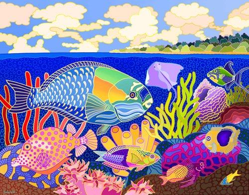 cuadros-de-marinas - Cuadro -Cayman Calypso, 1997, acrylic gouache on canvas- - Barwick, Jan