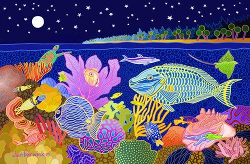 cuadros-de-marinas - Cuadro -Midnight Mazurka, 1998, acrylic gouache on canvas- - Barwick, Jan