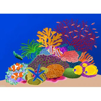 - Cuadro -Coral head, Great Barrier Reef, Australia, 2015, acrlylic gouache on canvas- - Barwick, Jan