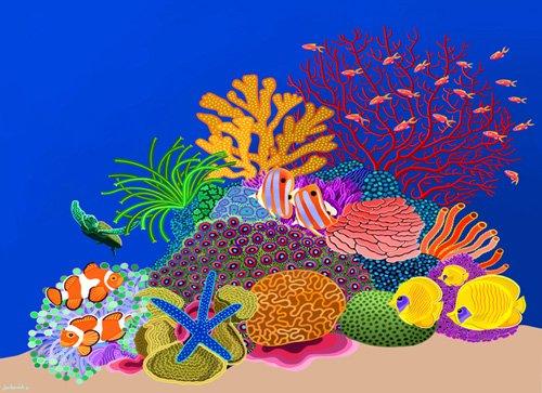 cuadros-de-marinas - Cuadro -Coral head, Great Barrier Reef, Australia, 2015, acrlylic gouache on canvas- - Barwick, Jan