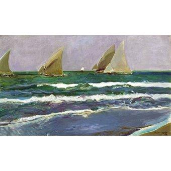 Cuadro - Cuatro velas en el mar, Valencia, 1908 - - Sorolla, Joaquin