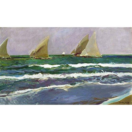 Cuadro - Cuatro velas en el mar, Valencia, 1908 -