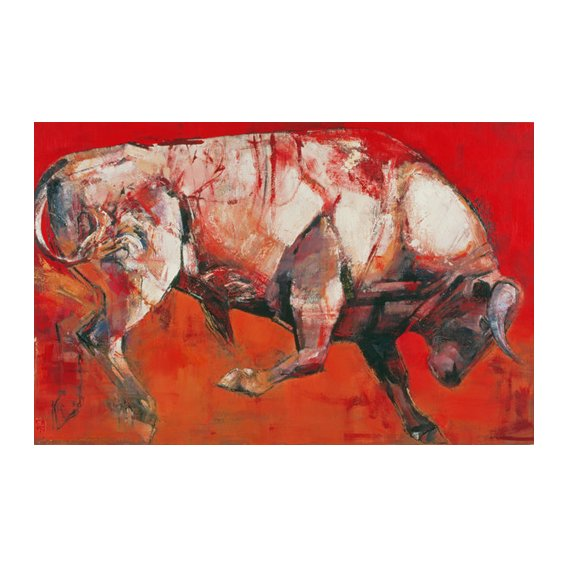 Cuadro -The White Bull, 1999 (oil on board)-