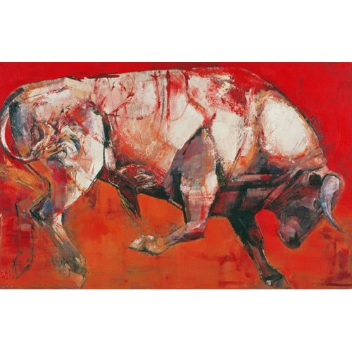 Cuadro -The White Bull, 1999 (oil on board)-