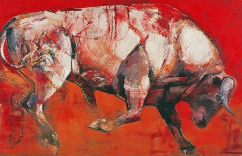 cuadros-para-salon - Cuadro -The White Bull, 1999 (oil on board)- - Adlington, Mark
