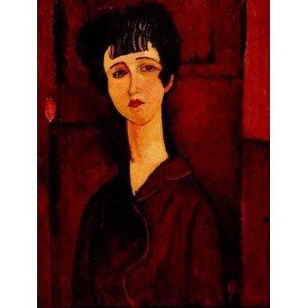 cuadros de retrato - Cuadro -Retrato de una chica- - Modigliani, Amedeo