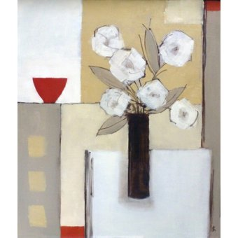 Cuadro -Red Bowl, White Flowers-