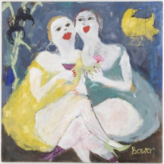 cuadros de retrato - Cuadro-Friday Night Girls, 2007 (oil on board)- - Bower, Susan