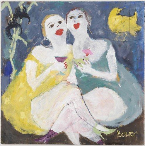 cuadros-modernos - Cuadro-Friday Night Girls, 2007 (oil on board)- - Bower, Susan