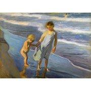 Cuadro - Dos niños en una playa -