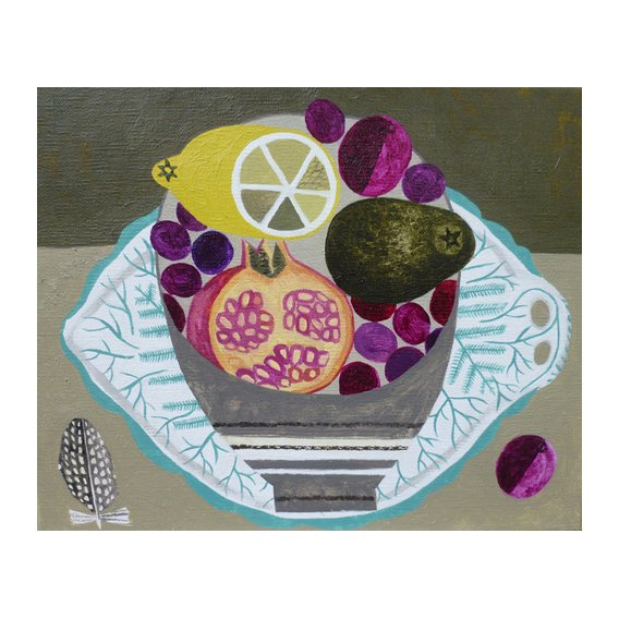 Cuadro -Fruitbowl on Fern Plate-