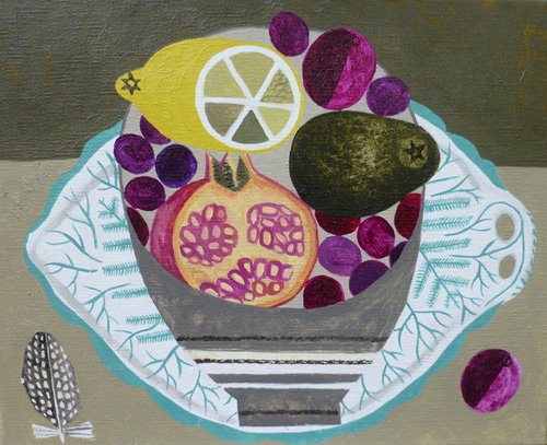 cuadros-modernos - Cuadro -Fruitbowl on Fern Plate- - Bowman, Vanessa
