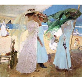cuadros de marinas - Cuadro -Bajo el toldo, Zarautz, 1910 - - Sorolla, Joaquin