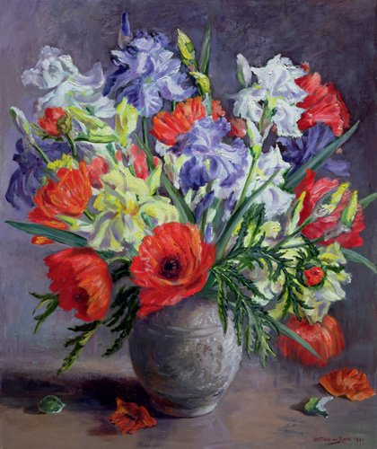 cuadros-de-flores - Cuadro - Poppies and Irises, 1991 - - Durose, Anthea