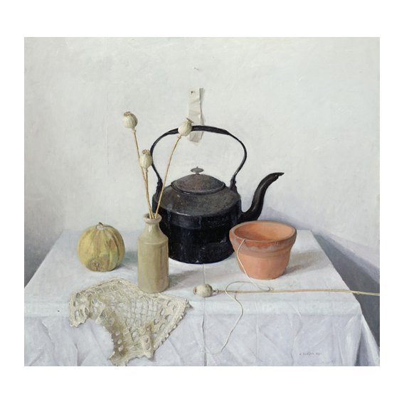 Cuadro - Kettle, Poppyheads and Gourd, Still Life, 1990 -