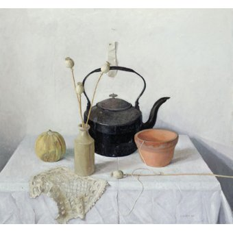 - Cuadro - Kettle, Poppyheads and Gourd, Still Life, 1990 - - Easton, Arthur