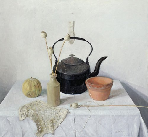 cuadros-de-bodegones - Cuadro -  Kettle, Poppyheads and Gourd, Still Life, 1990 - - Easton, Arthur