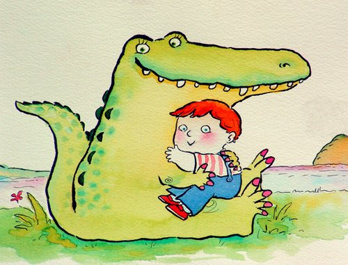 cuadros-infantiles - Cuadro -Crocodile Hug, or Best Friends (pen & ink and w.c on paper)- - Christie, Maylee